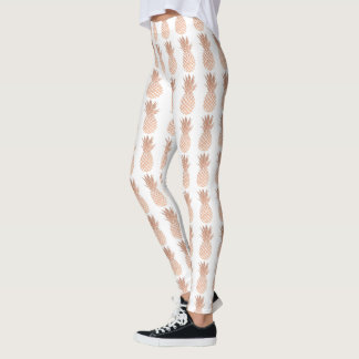 rose gold pineapples on any color background leggings