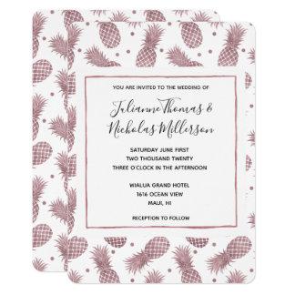 Rose Gold Pineapples Wedding Invites