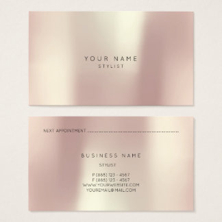 Rose Gold Pink Blush Metallic Pearly Stylist Vip Business Card