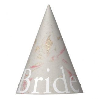 Rose Gold Pink Champagne Swirled Marble Party Hat