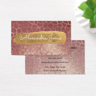 Rose Gold Pink Glitter and Sparkle Animal Print Business Card