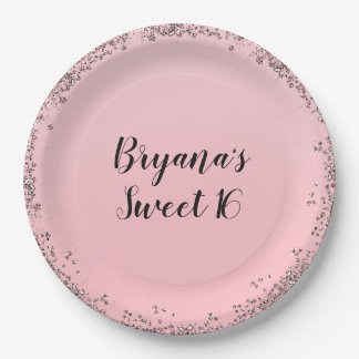 Rose Gold Pink Glitter Glam Edge Sweet 16 Party Paper Plate