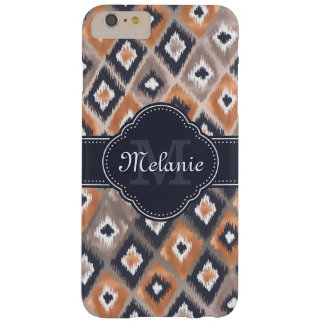 Rose Gold Pink Ikat Pattern Navy Monogram Barely There iPhone 6 Plus Case