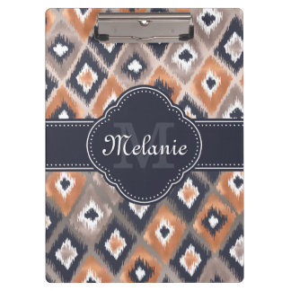 Rose Gold Pink Ikat Pattern Navy Monogram Clipboard