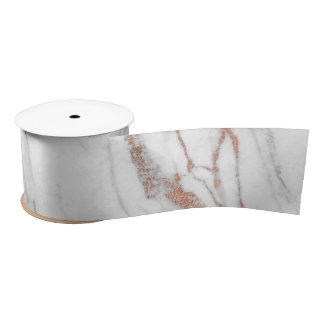 Rose Gold Pink Marble Carrara White Abstract White Satin Ribbon