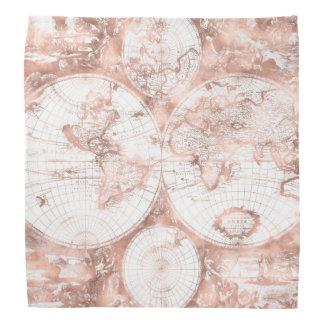 Rose Gold Pink Metal Glitter Antique World Map Bandana