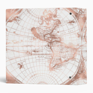 Rose Gold Pink Metal Glitter Antique World Map Binder
