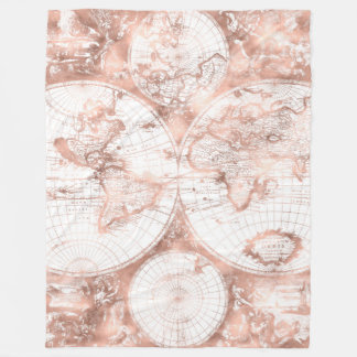 Rose Gold Pink Metal Glitter Antique World Map Fleece Blanket