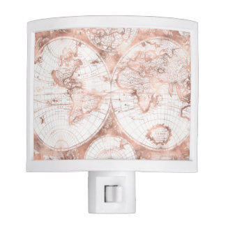 Rose Gold Pink Metal Glitter Antique World Map Night Lights
