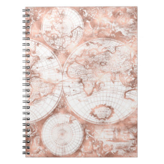 Rose Gold Pink Metal Glitter Antique World Map Notebook