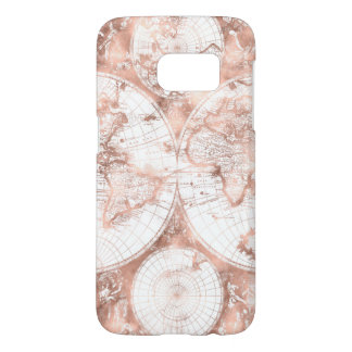 Rose Gold Pink Metal Glitter Antique World Map Samsung Galaxy S7 Case