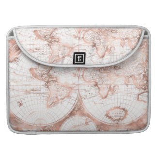 Rose Gold Pink Metal Glitter Antique World Map Sleeve For MacBooks