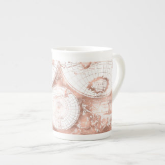 Rose Gold Pink Metal Glitter Antique World Map Tea Cup