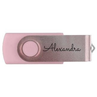 Rose Gold Pink Metal Monogram USB Thumb Drive
