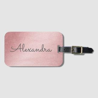 Rose Gold Pink Monogrammed Name Luggage Tag