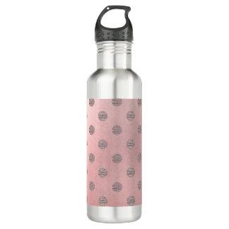 Rose Gold Pink Shine Glam Polka Dots Modern Chic 710 Ml Water Bottle