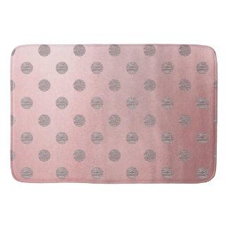 Rose Gold Pink Shine Glam Polka Dots Modern Chic Bath Mat