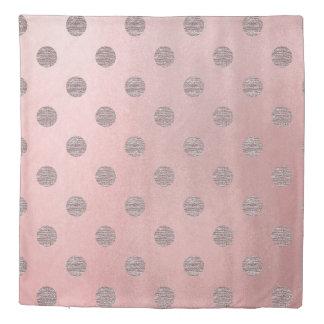 Rose Gold Pink Shine Glam Polka Dots Modern Chic Duvet Cover