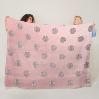 Rose Gold Pink Shine Glam Polka Dots Modern Chic Fleece Blanket