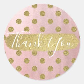 Rose Gold Pink Shine Glam Polka Dots Modern Favor Classic Round Sticker