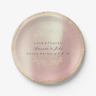 Rose Gold Pink Silk Metallic Foxier Floral Wreath Paper Plate