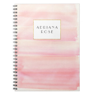 Rose Gold Pink Watercolor Stripe Personalized Notebook