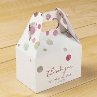 Rose Gold Pink Wedding Faux Foil Glitter Favor Box