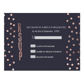 Rose Gold Polka Dots and Navy Blue RSVP Postcards