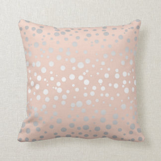Rose Gold Polka Dots ID128 Throw Pillow