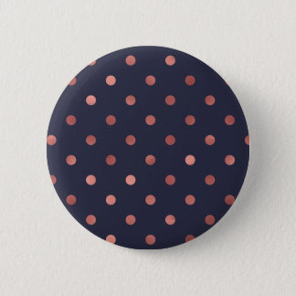 Rose Gold Polka Dots on Navy Background 2 Inch Round Button