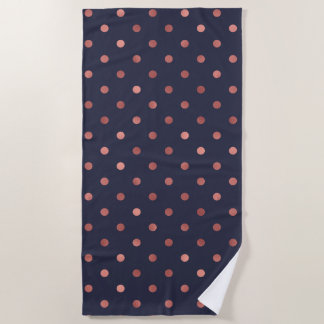 Rose Gold Polka Dots on Navy Background Beach Towel