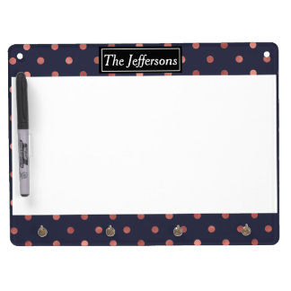 Rose Gold Polka Dots on Navy Background Dry Erase Board With Keychain Holder