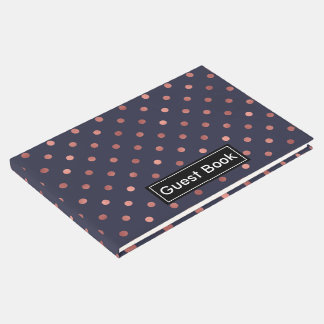 Rose Gold Polka Dots on Navy Background Guest Book