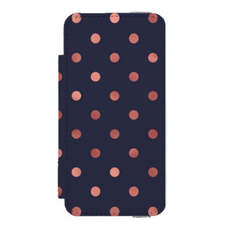 Rose Gold Polka Dots on Navy Background Incipio Watson™ iPhone 5 Wallet Case