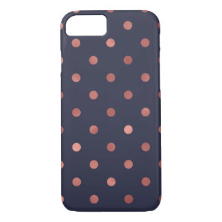 Rose Gold Polka Dots on Navy Background iPhone 8/7 Case