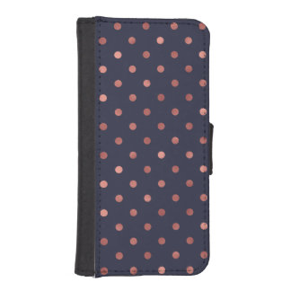 Rose Gold Polka Dots on Navy Background iPhone SE/5/5s Wallet Case