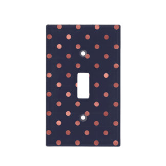 Rose Gold Polka Dots on Navy Background Light Switch Cover