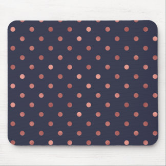 Rose Gold Polka Dots on Navy Background Mouse Pad