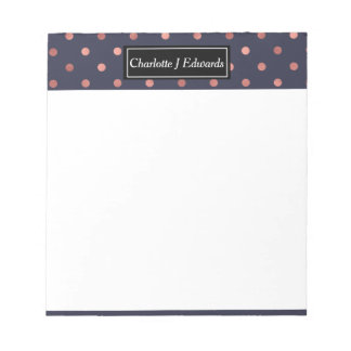 Rose Gold Polka Dots on Navy Background Notepad