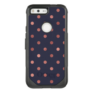Rose Gold Polka Dots on Navy Background OtterBox Commuter Google Pixel Case