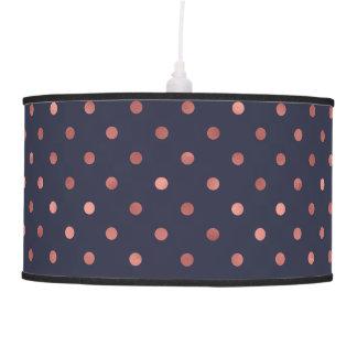 Rose Gold Polka Dots on Navy Background Pendant Lamp