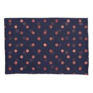 Rose Gold Polka Dots on Navy Background Pillowcase