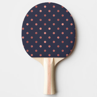 Rose Gold Polka Dots on Navy Background Ping Pong Paddle