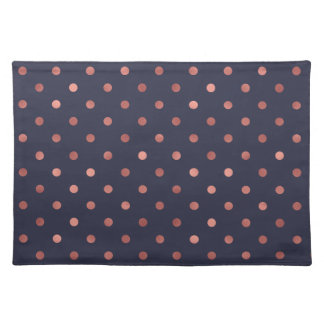 Rose Gold Polka Dots on Navy Background Placemat