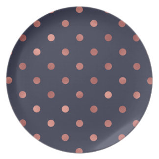 Rose Gold Polka Dots on Navy Background Plate