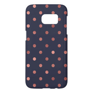 Rose Gold Polka Dots on Navy Background Samsung Galaxy S7 Case