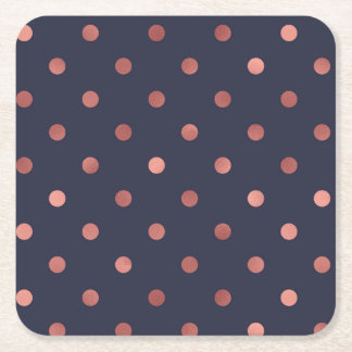 Rose Gold Polka Dots on Navy Background Square Paper Coaster