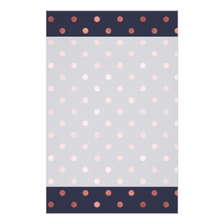 Rose Gold Polka Dots on Navy Background Stationery