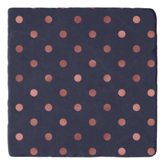 Rose Gold Polka Dots on Navy Background Trivet
