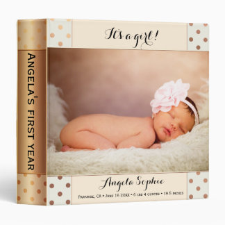 Rose Gold Polka Dots Photo Personalized Binder